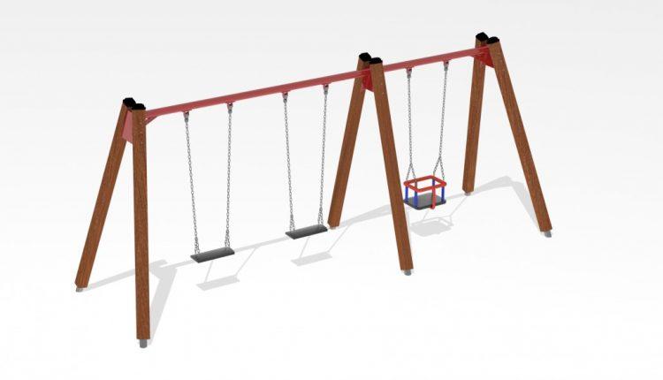 Leagăn-din-lemn-pentru-copii-și-copii-mici-